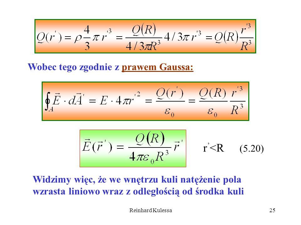 Reinhard Kulessa25 Wobec tego zgodnie z prawem Gaussa: r <R (5.20) Widzimy więc, że we wnętrzu kuli natężenie pola wzrasta liniowo wraz z odległością