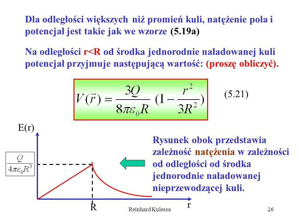 Reinhard Kulessa26 Dla odległości większych niż promień kuli, natężenie pola i potencjał jest takie jak we wzorze (5.19a) Na odległości r<R od środka
