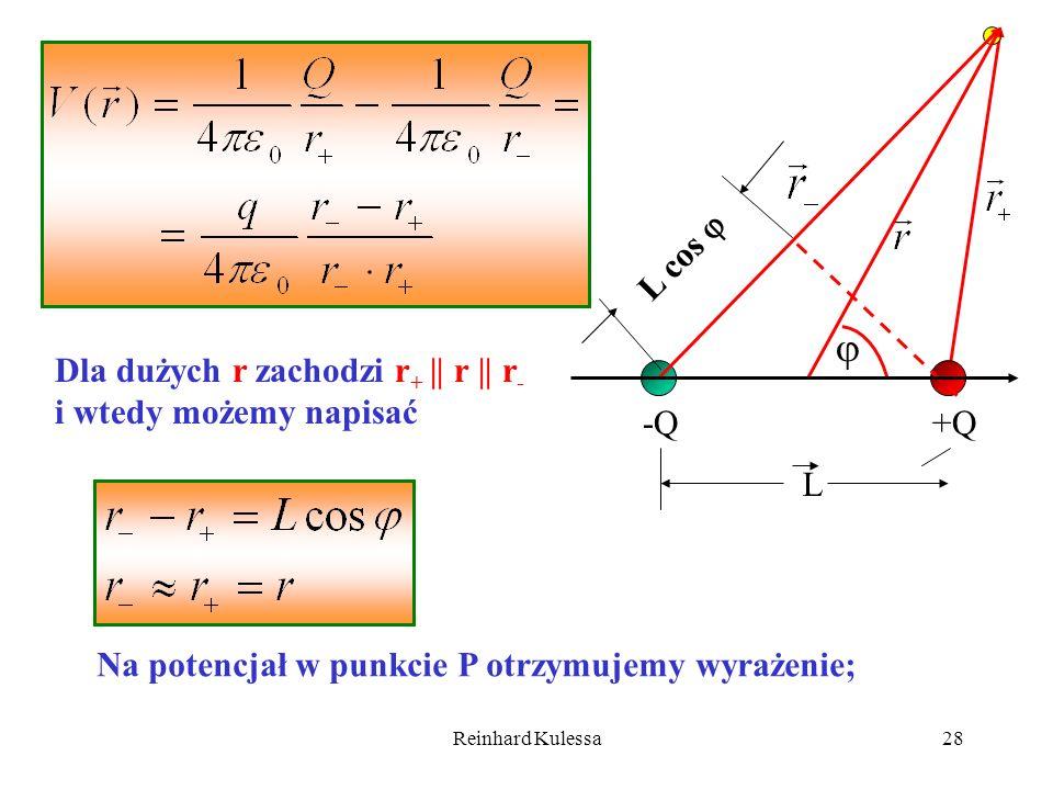 Reinhard Kulessa28 Dla dużych r zachodzi r + || r || r - i wtedy możemy napisać Na potencjał w punkcie P otrzymujemy wyrażenie; -Q+Q L L cos
