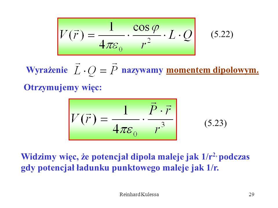 Reinhard Kulessa29 (5.22) Wyrażenie nazywamy momentem dipolowym. Otrzymujemy więc: (5.23) Widzimy więc, że potencjał dipola maleje jak 1/r 2, podczas