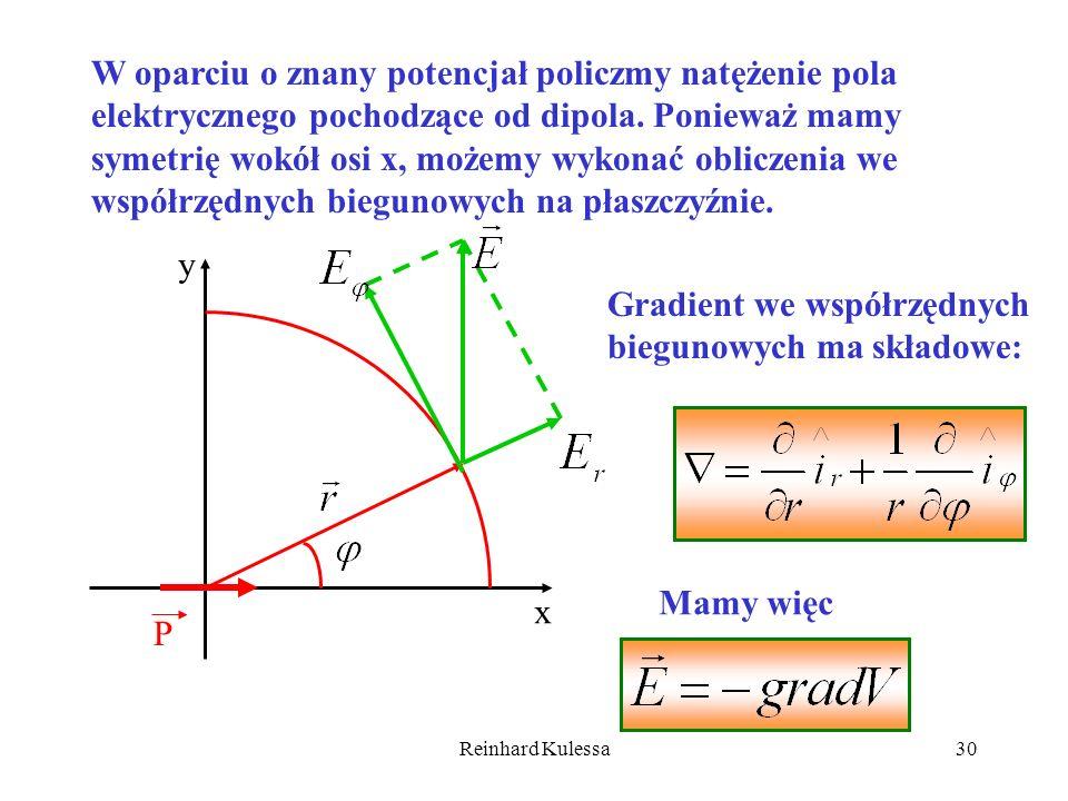 Reinhard Kulessa30 W oparciu o znany potencjał policzmy natężenie pola elektrycznego pochodzące od dipola. Ponieważ mamy symetrię wokół osi x, możemy