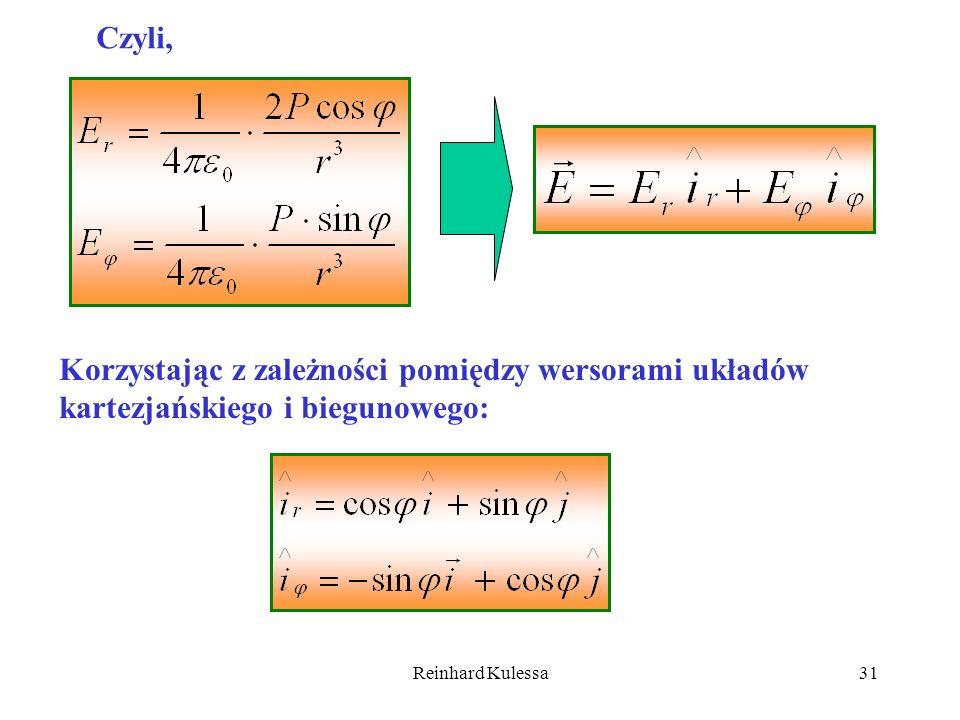 Reinhard Kulessa31 Czyli, Korzystając z zależności pomiędzy wersorami układów kartezjańskiego i biegunowego: