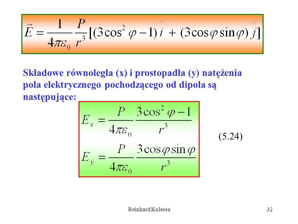 Reinhard Kulessa32 Składowe równoległa (x) i prostopadła (y) natężenia pola elektrycznego pochodzącego od dipola są następujące: (5.24)