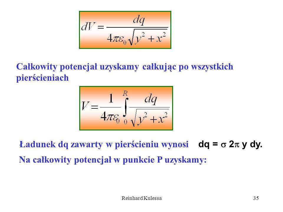 Reinhard Kulessa35 Całkowity potencjał uzyskamy całkując po wszystkich pierścieniach Ładunek dq zawarty w pierścieniu wynosi dq = 2 y dy. Na całkowity