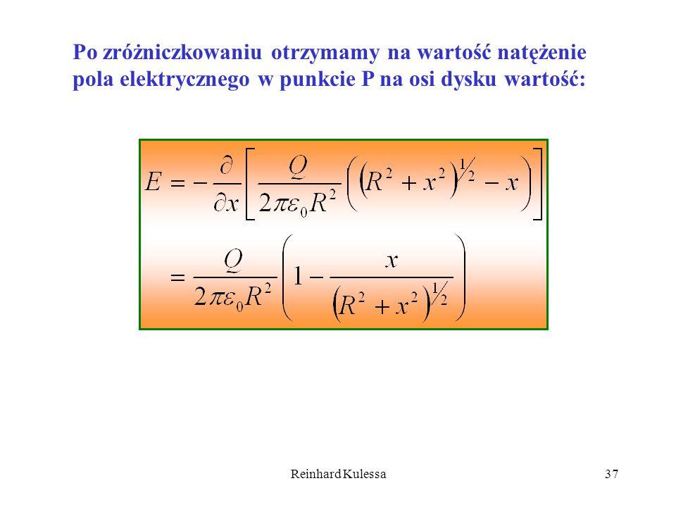 Reinhard Kulessa37 Po zróżniczkowaniu otrzymamy na wartość natężenie pola elektrycznego w punkcie P na osi dysku wartość: