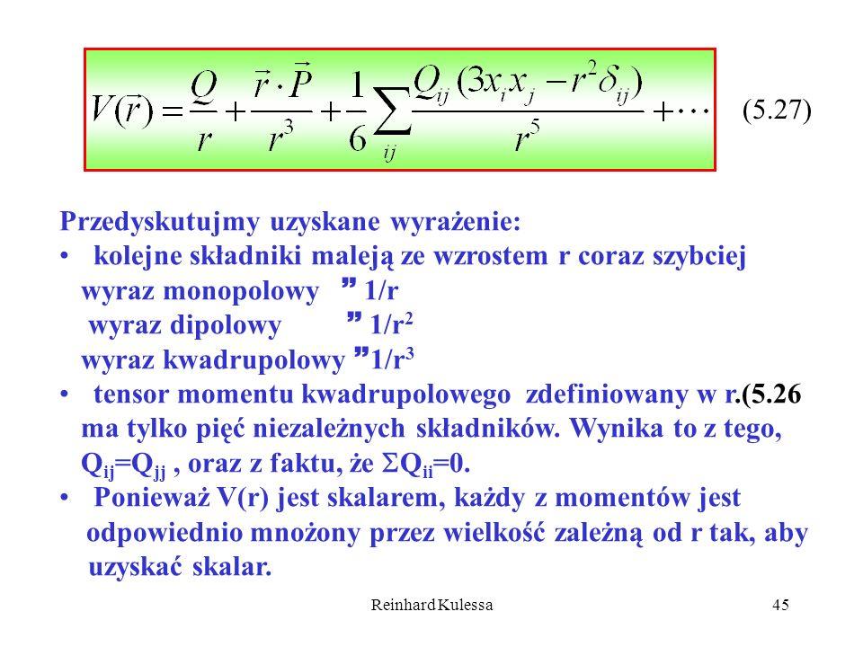 Reinhard Kulessa45 (5.27) Przedyskutujmy uzyskane wyrażenie: kolejne składniki maleją ze wzrostem r coraz szybciej wyraz monopolowy 1/r wyraz dipolowy