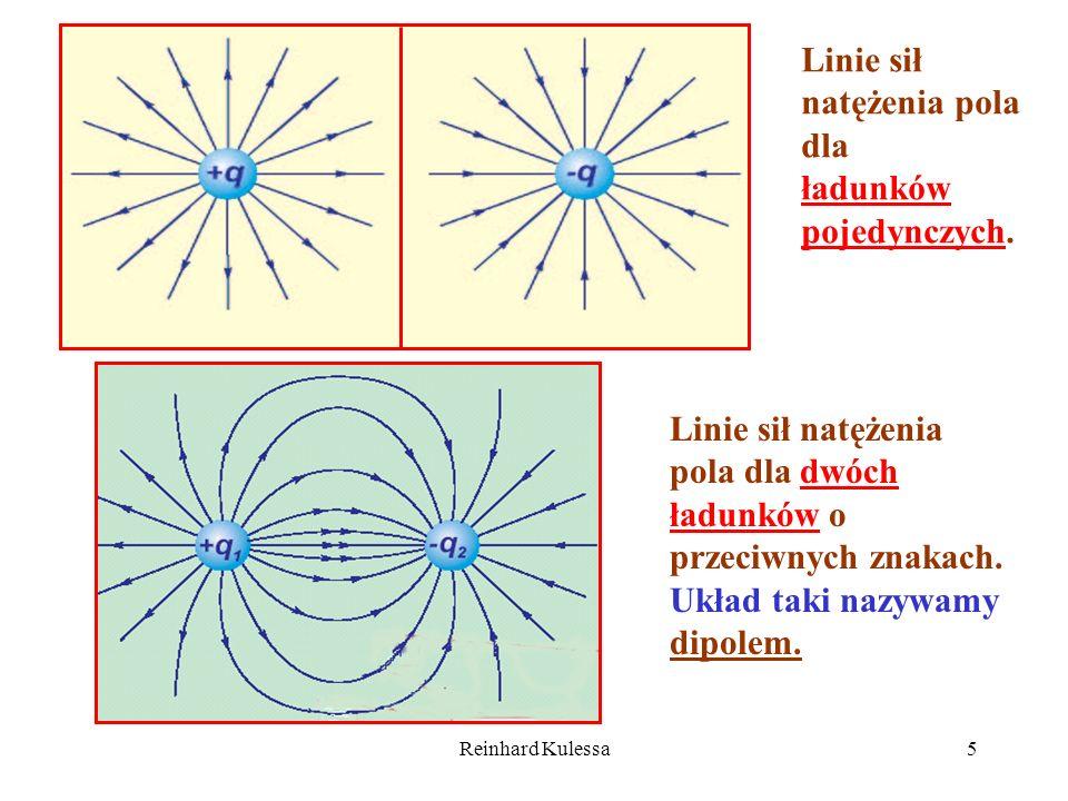 Reinhard Kulessa5 Linie sił natężenia pola dla ładunków pojedynczych. Linie sił natężenia pola dla dwóch ładunków o przeciwnych znakach. Układ taki na