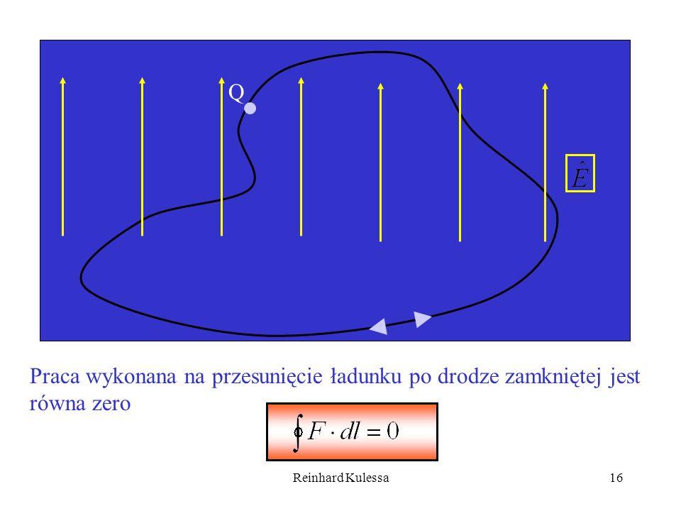 Reinhard Kulessa16 Q Praca wykonana na przesunięcie ładunku po drodze zamkniętej jest równa zero