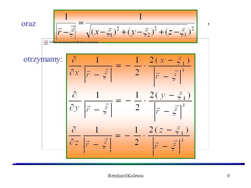 Reinhard Kulessa10 W oparciu o podane wyrażenia możemy wzór na natężenie pola elektrycznego pochodzącego od objętościowego rozkładu ładunków (5.3) napisać następująco:.