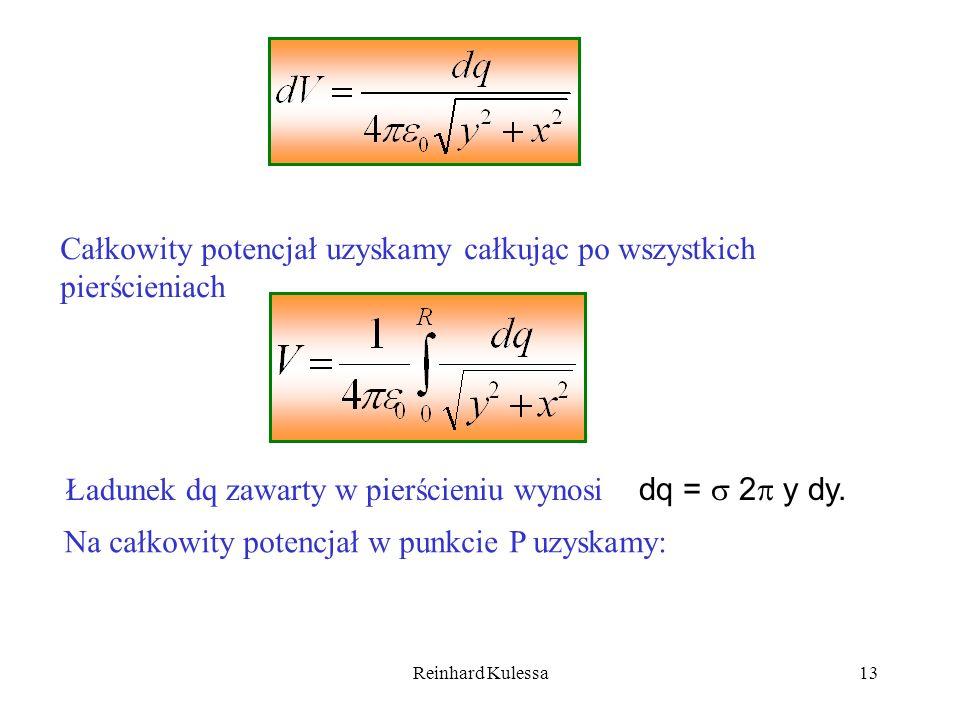 Reinhard Kulessa13 Całkowity potencjał uzyskamy całkując po wszystkich pierścieniach Ładunek dq zawarty w pierścieniu wynosi dq = 2 y dy. Na całkowity