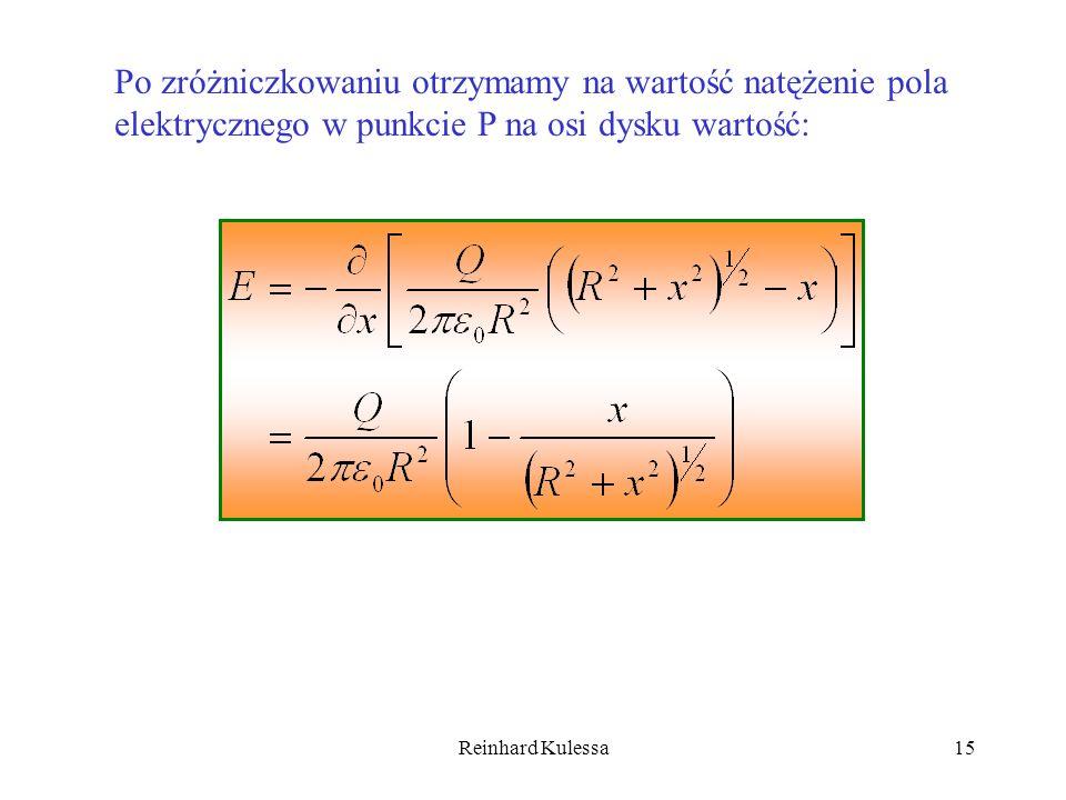 Reinhard Kulessa15 Po zróżniczkowaniu otrzymamy na wartość natężenie pola elektrycznego w punkcie P na osi dysku wartość: