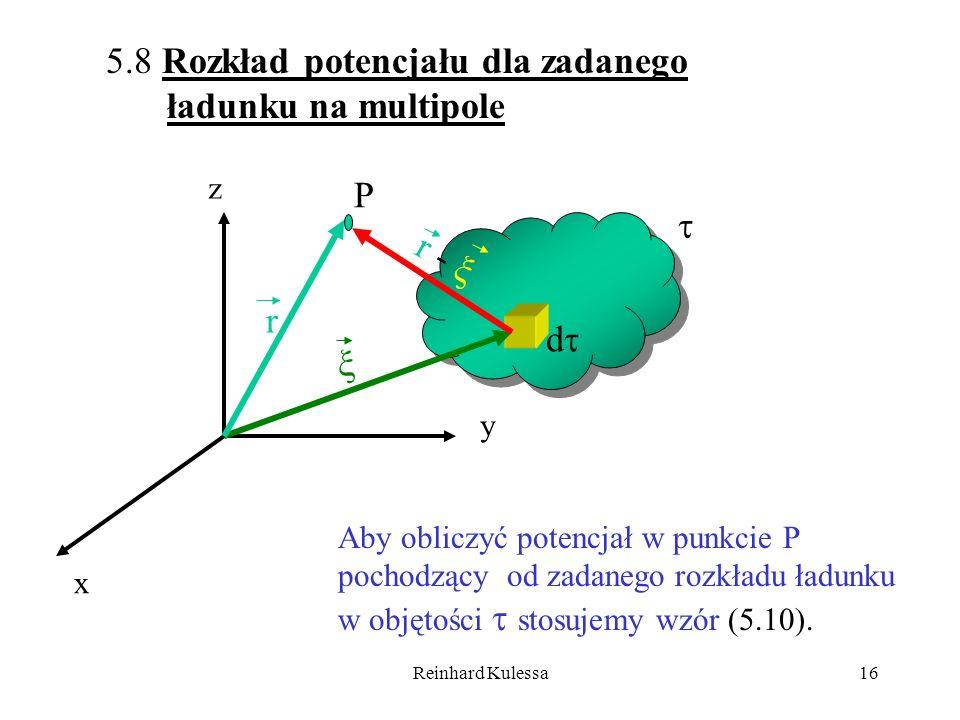 Reinhard Kulessa16 x y d r r - P z 5.8 Rozkład potencjału dla zadanego ładunku na multipole Aby obliczyć potencjał w punkcie P pochodzący od zadanego