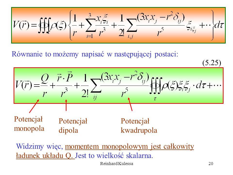 Reinhard Kulessa20 Równanie to możemy napisać w następującej postaci: (5.25) Potencjał monopola Potencjał dipola Potencjał kwadrupola Widzimy więc, mo