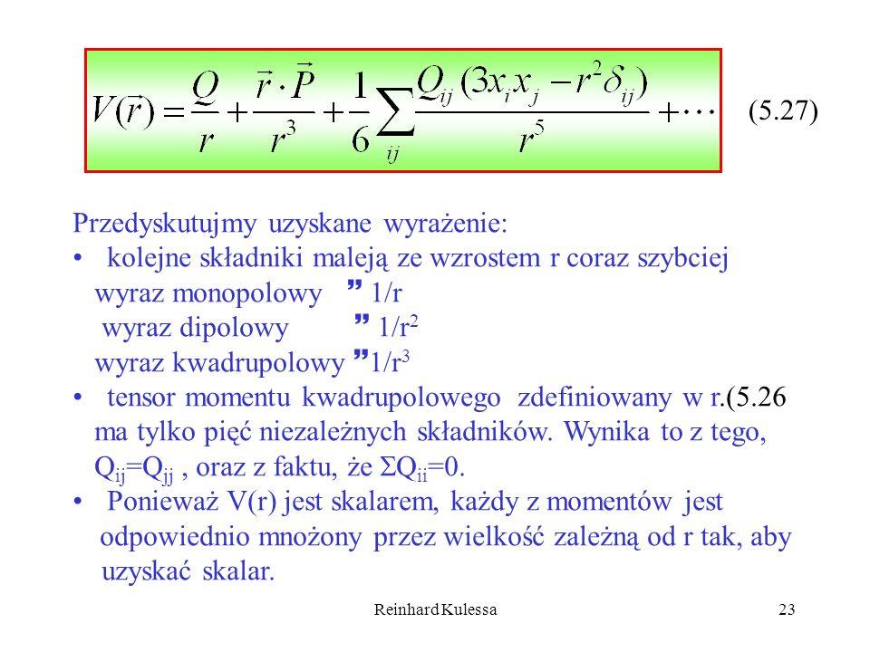 Reinhard Kulessa23 (5.27) Przedyskutujmy uzyskane wyrażenie: kolejne składniki maleją ze wzrostem r coraz szybciej wyraz monopolowy 1/r wyraz dipolowy