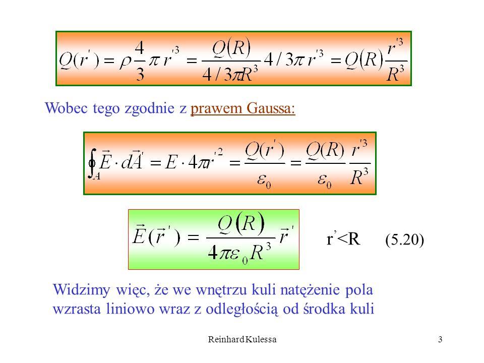 Reinhard Kulessa3 Wobec tego zgodnie z prawem Gaussa: r <R (5.20) Widzimy więc, że we wnętrzu kuli natężenie pola wzrasta liniowo wraz z odległością o