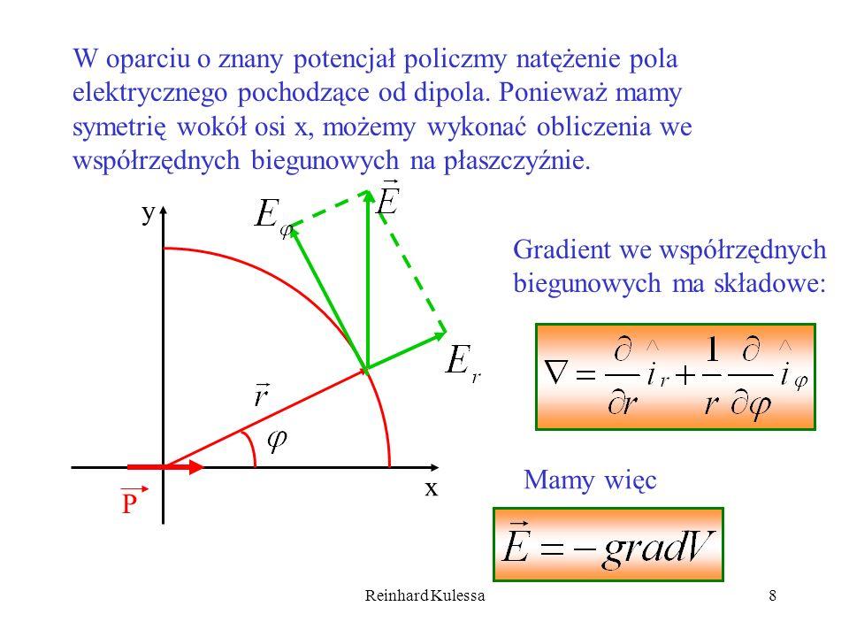 Reinhard Kulessa8 W oparciu o znany potencjał policzmy natężenie pola elektrycznego pochodzące od dipola. Ponieważ mamy symetrię wokół osi x, możemy w