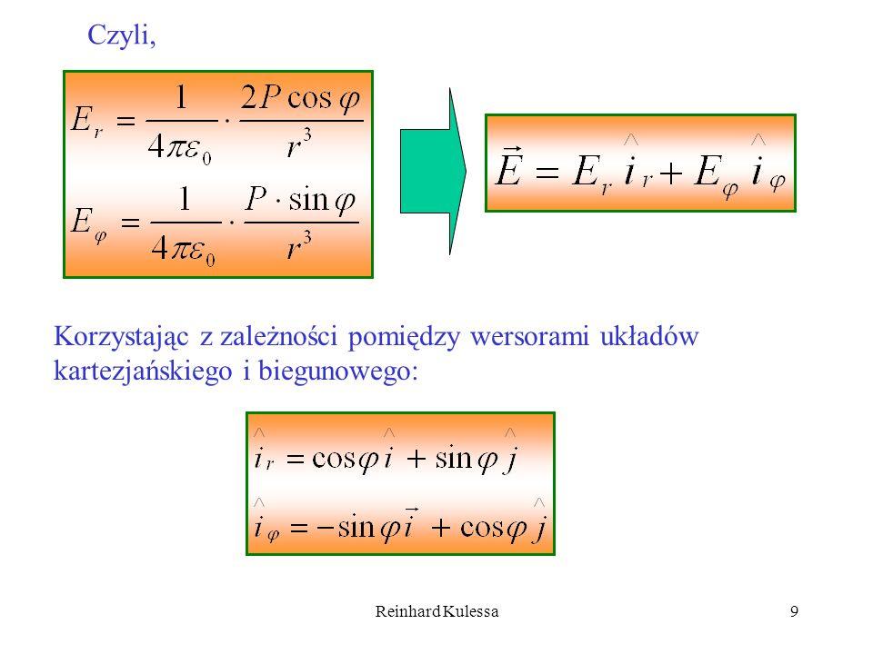 Reinhard Kulessa20 Równanie to możemy napisać w następującej postaci: (5.25) Potencjał monopola Potencjał dipola Potencjał kwadrupola Widzimy więc, momentem monopolowym jest całkowity ładunek układu Q.