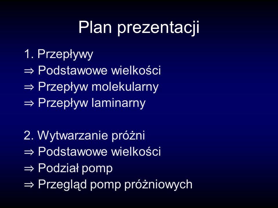 Plan prezentacji 1. Przepływy Podstawowe wielkości Przepływ molekularny Przepływ laminarny 2.