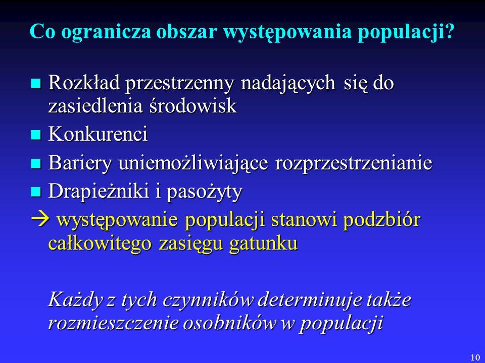 10 Co ogranicza obszar występowania populacji? Rozkład przestrzenny nadających się do zasiedlenia środowisk Rozkład przestrzenny nadających się do zas