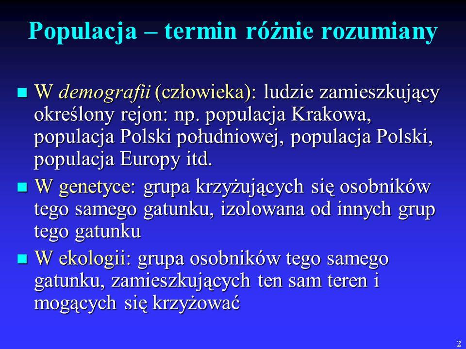 2 Populacja – termin różnie rozumiany W demografii (człowieka): ludzie zamieszkujący określony rejon: np. populacja Krakowa, populacja Polski południo