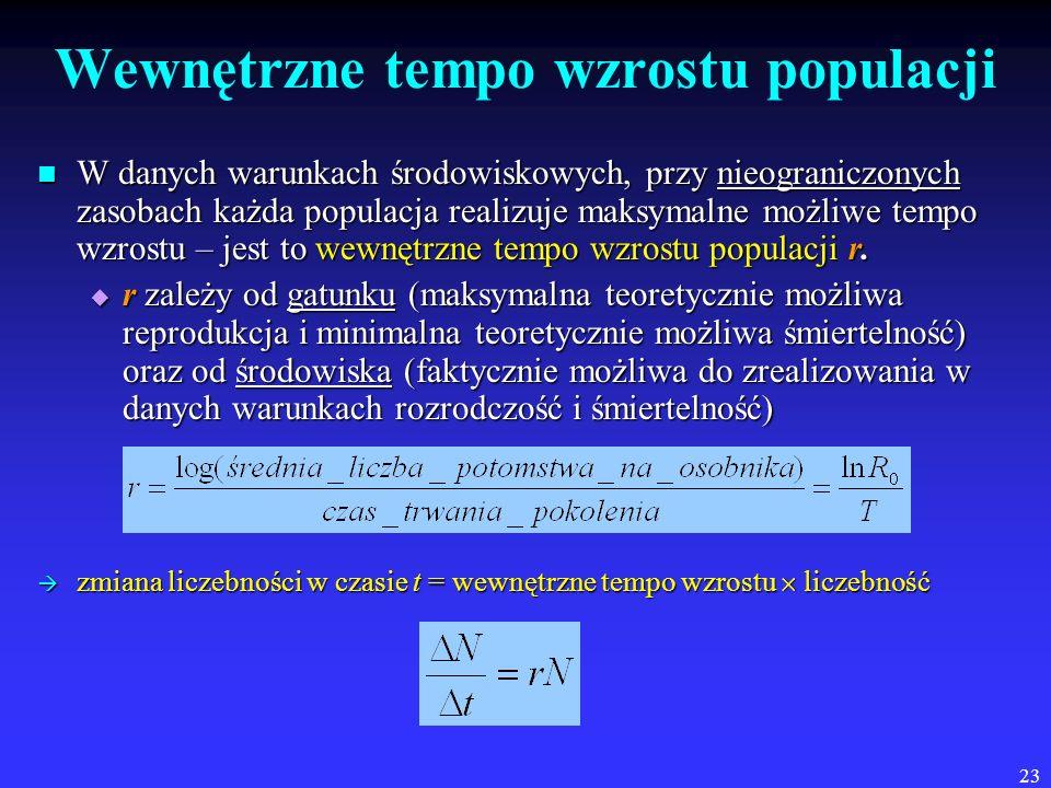 23 Wewnętrzne tempo wzrostu populacji W danych warunkach środowiskowych, przy nieograniczonych zasobach każda populacja realizuje maksymalne możliwe t
