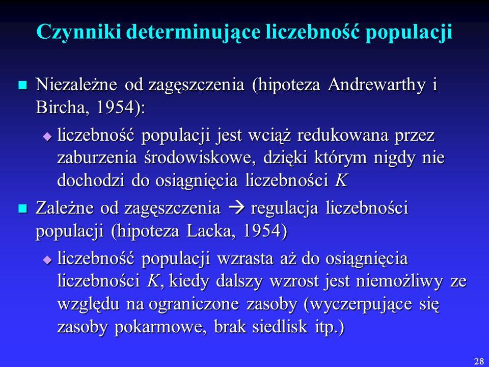 28 Czynniki determinujące liczebność populacji Niezależne od zagęszczenia (hipoteza Andrewarthy i Bircha, 1954): Niezależne od zagęszczenia (hipoteza