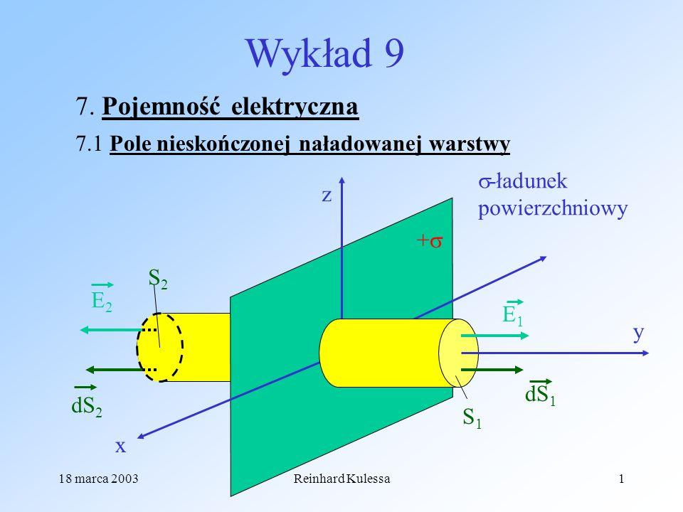 18 marca 2003Reinhard Kulessa1 Wykład 9 7. Pojemność elektryczna 7.1 Pole nieskończonej naładowanej warstwy x z y + E1E1 dS 1 S1S1 E2E2 dS 2 S2S2 -ład