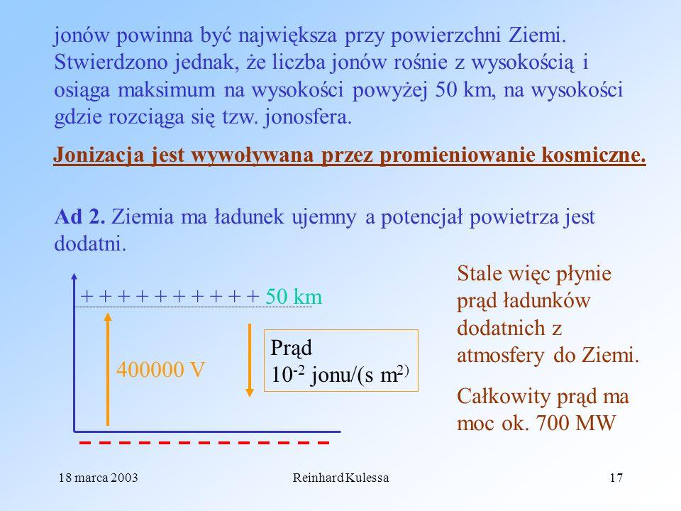 18 marca 2003Reinhard Kulessa17 jonów powinna być największa przy powierzchni Ziemi. Stwierdzono jednak, że liczba jonów rośnie z wysokością i osiąga