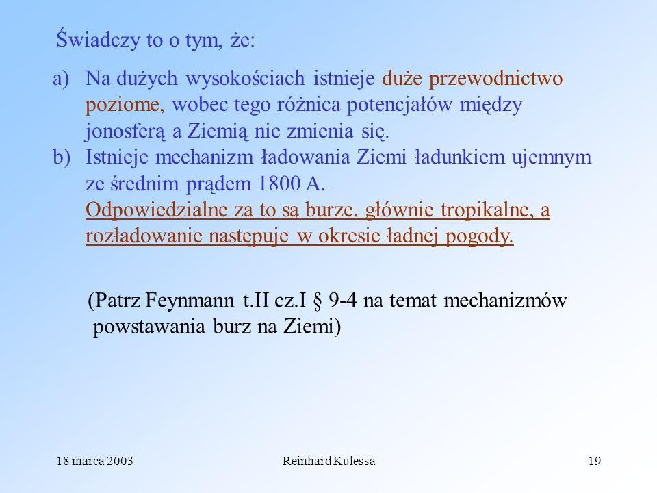 18 marca 2003Reinhard Kulessa19 Świadczy to o tym, że: a)Na dużych wysokościach istnieje duże przewodnictwo poziome, wobec tego różnica potencjałów mi