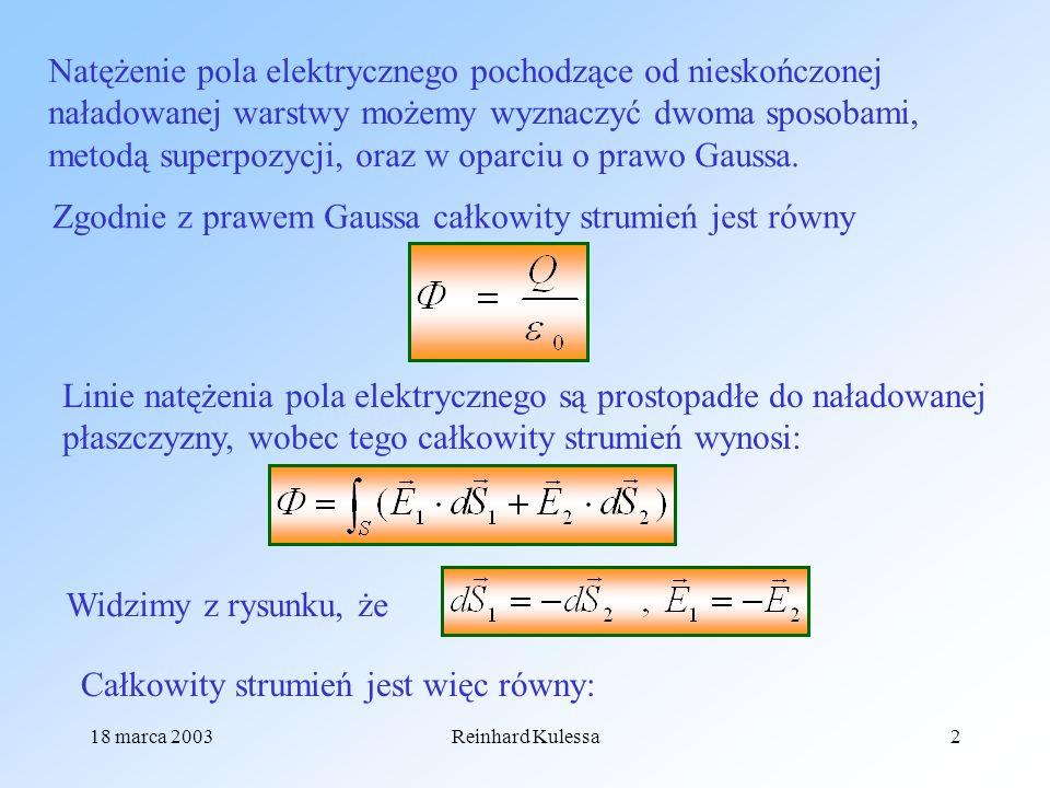 18 marca 2003Reinhard Kulessa2 Natężenie pola elektrycznego pochodzące od nieskończonej naładowanej warstwy możemy wyznaczyć dwoma sposobami, metodą s