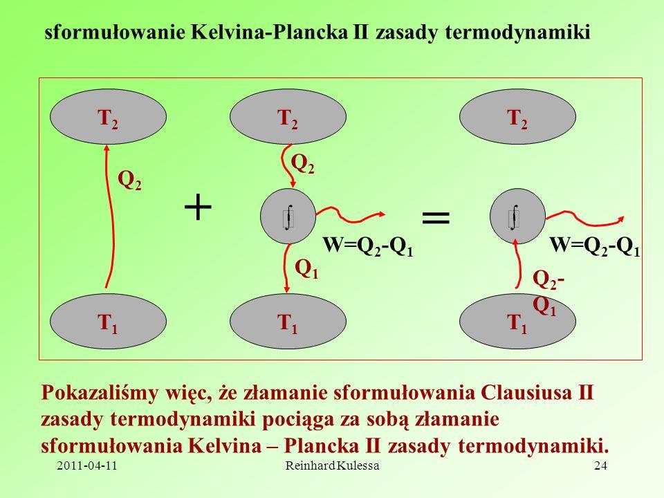 2011-04-11Reinhard Kulessa24 sformułowanie Kelvina-Plancka II zasady termodynamiki Pokazaliśmy więc, że złamanie sformułowania Clausiusa II zasady termodynamiki pociąga za sobą złamanie sformułowania Kelvina – Plancka II zasady termodynamiki.