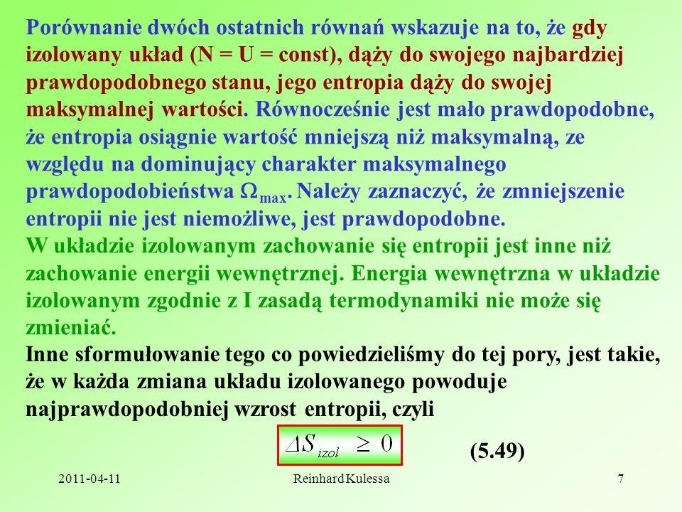 2011-04-11Reinhard Kulessa18 6.1 Sformułowanie Clausiusa oraz Kelvina-Plancka II zasady termodynamiki T2T2 T1T1 Q2Q2 Q1Q1 Sformułowanie Clausiusa: Nie można skonstruować urządzenia działającego cyklicznie, którego jedynym efektem będzie transport ciepła od ciała zimniejszego do cieplejszego.