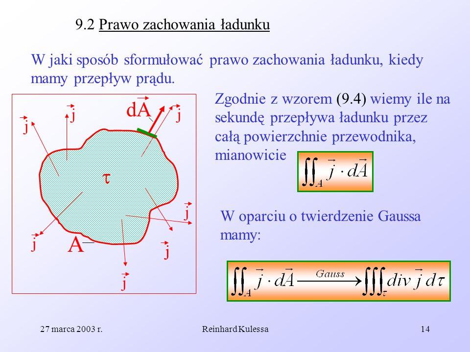 27 marca 2003 r.Reinhard Kulessa14 9.2 Prawo zachowania ładunku W jaki sposób sformułować prawo zachowania ładunku, kiedy mamy przepływ prądu. A dA j