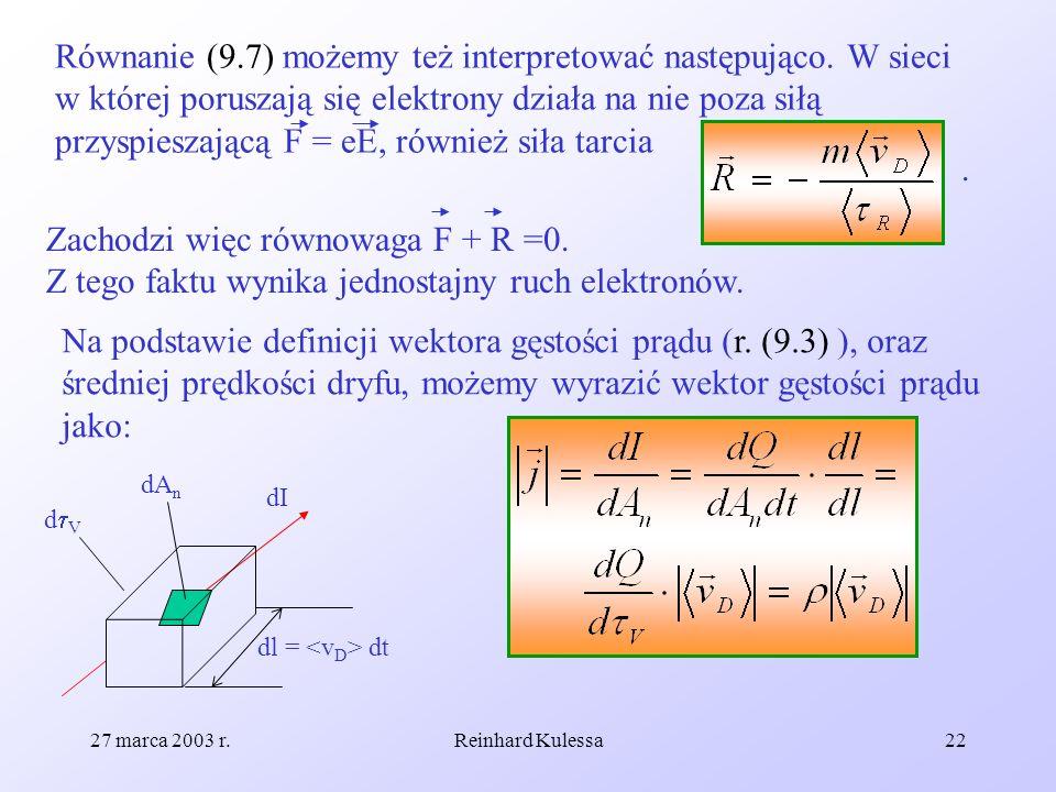 27 marca 2003 r.Reinhard Kulessa22 Równanie (9.7) możemy też interpretować następująco. W sieci w której poruszają się elektrony działa na nie poza si