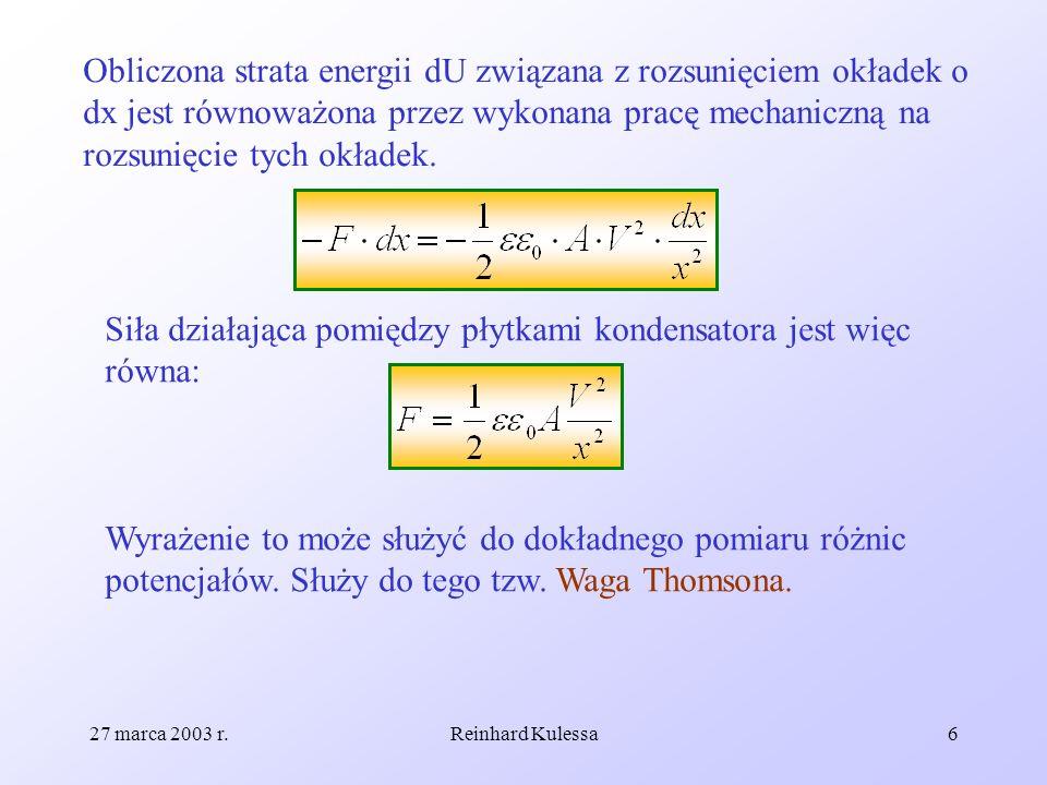 27 marca 2003 r.Reinhard Kulessa6 Obliczona strata energii dU związana z rozsunięciem okładek o dx jest równoważona przez wykonana pracę mechaniczną n