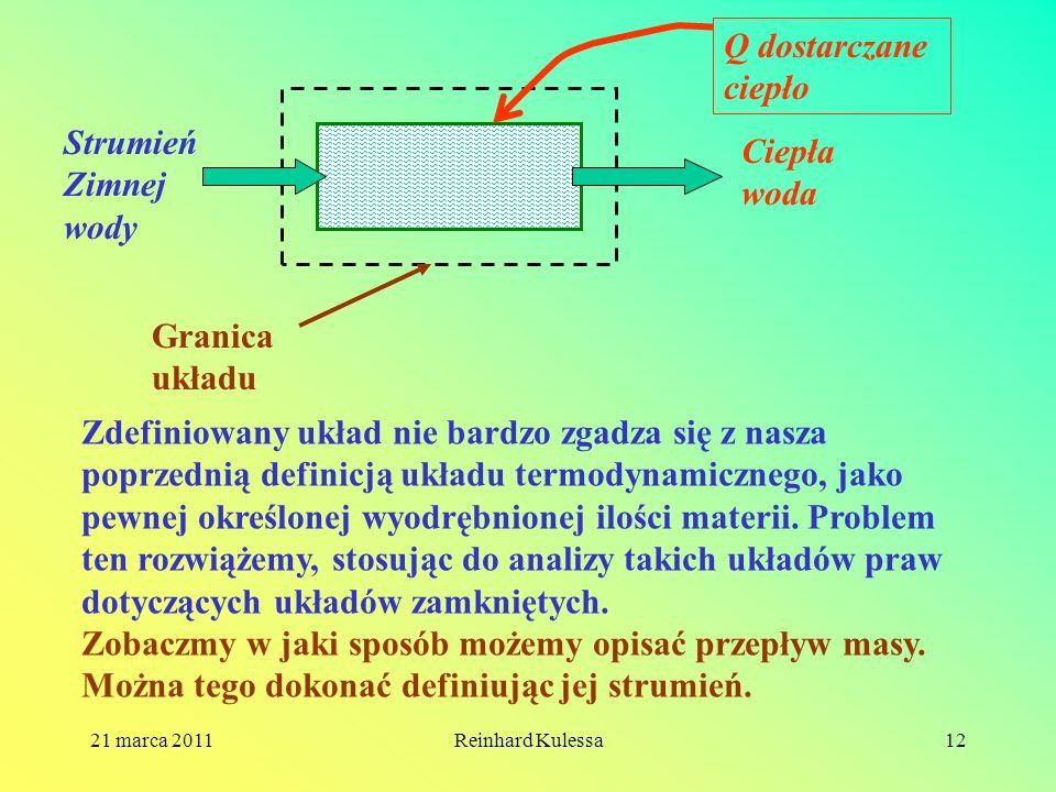 21 marca 2011Reinhard Kulessa12 Strumień Zimnej wody Ciepła woda Q dostarczane ciepło Granica układu Zdefiniowany układ nie bardzo zgadza się z nasza
