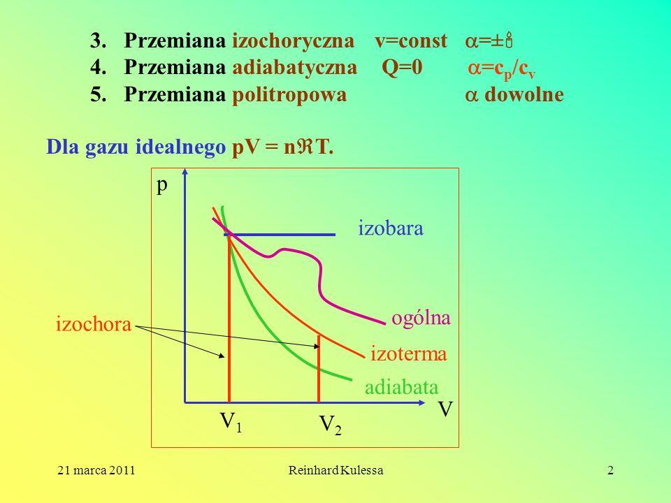 21 marca 2011Reinhard Kulessa2 3.Przemiana izochoryczna v=const =± 4.Przemiana adiabatyczna Q=0 =c p /c v 5.Przemiana politropowa dowolne Dla gazu ide