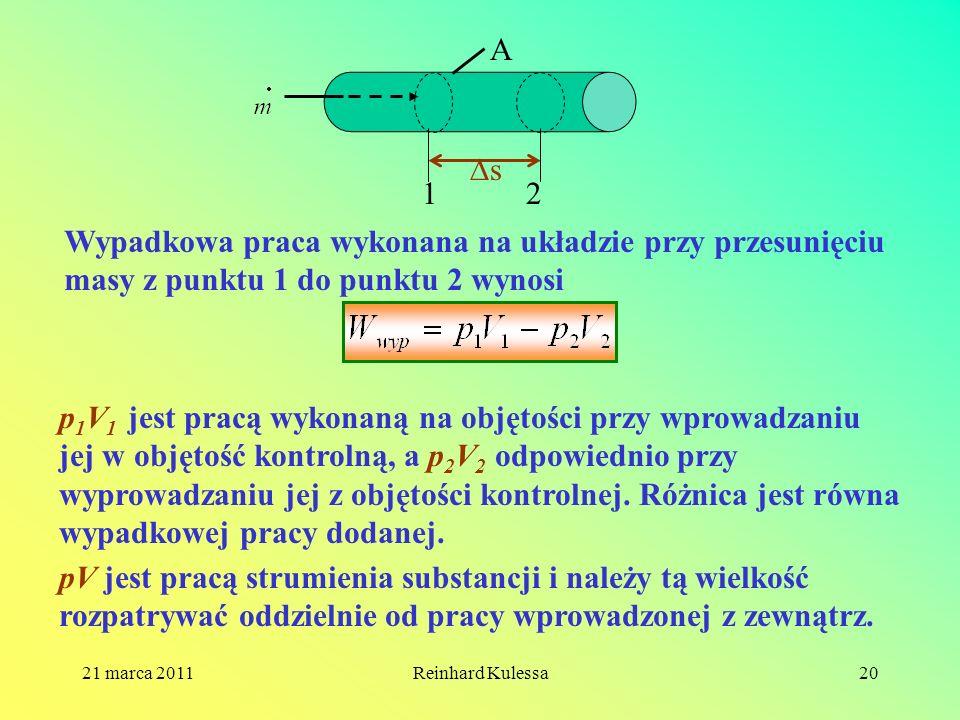 21 marca 2011Reinhard Kulessa20 12 s A Wypadkowa praca wykonana na układzie przy przesunięciu masy z punktu 1 do punktu 2 wynosi p 1 V 1 jest pracą wy