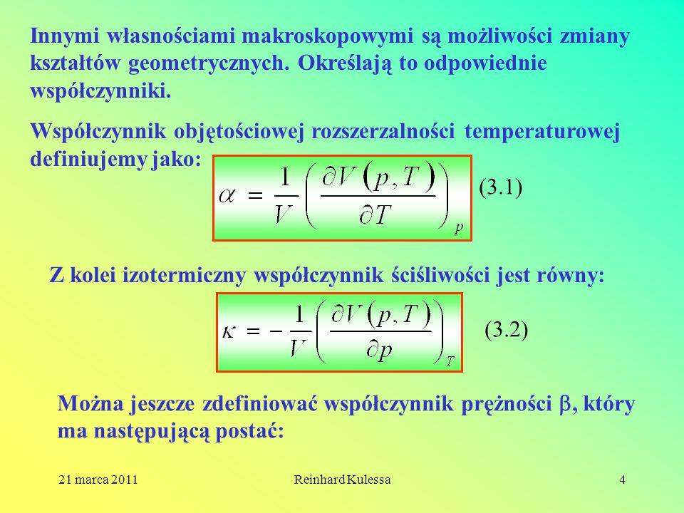 21 marca 2011Reinhard Kulessa4 Innymi własnościami makroskopowymi są możliwości zmiany kształtów geometrycznych. Określają to odpowiednie współczynnik