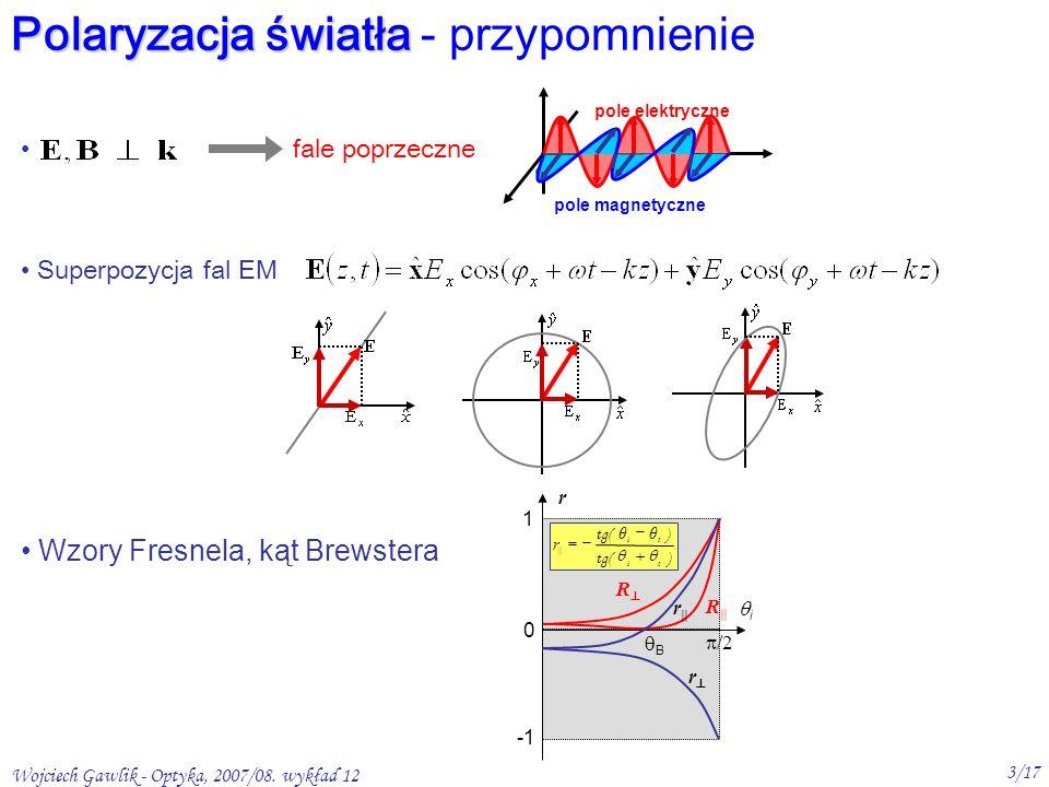Wojciech Gawlik - Optyka, 2007/08.wykład 12 4/17 Sposoby polaryzowania światła 1.