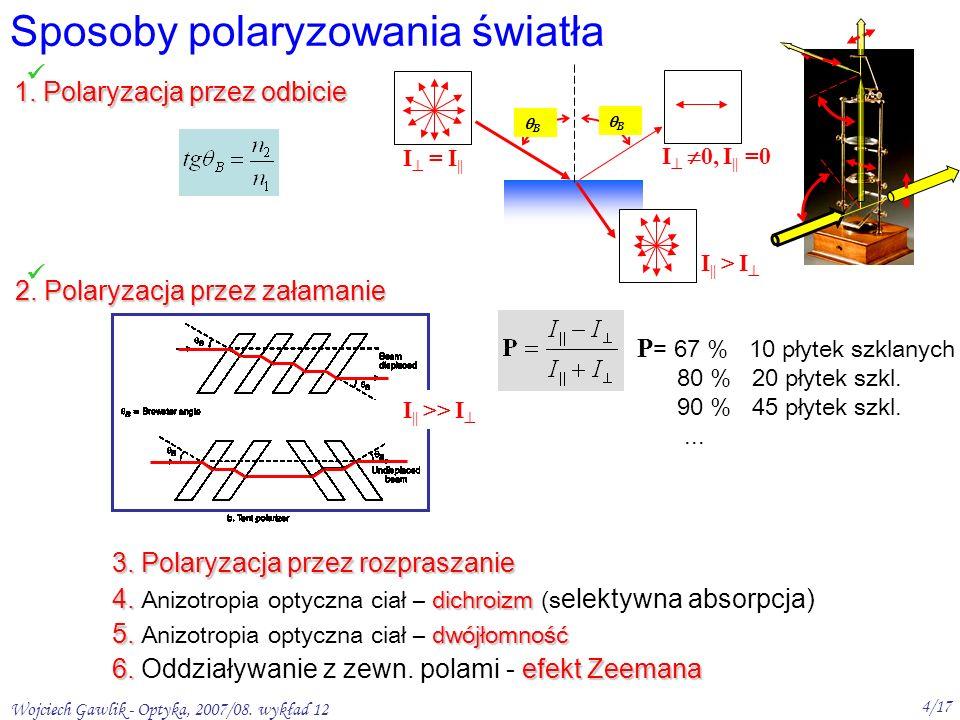 Wojciech Gawlik - Optyka, 2007/08. wykład 12 4/17 Sposoby polaryzowania światła 1.