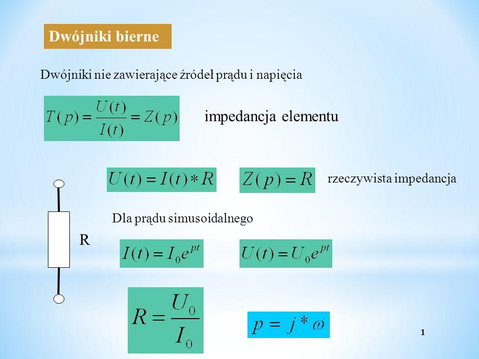 Dwójniki bierne Dwójniki nie zawierające źródeł prądu i napięcia impedancja elementu R rzeczywista impedancja Dla prądu simusoidalnego 1