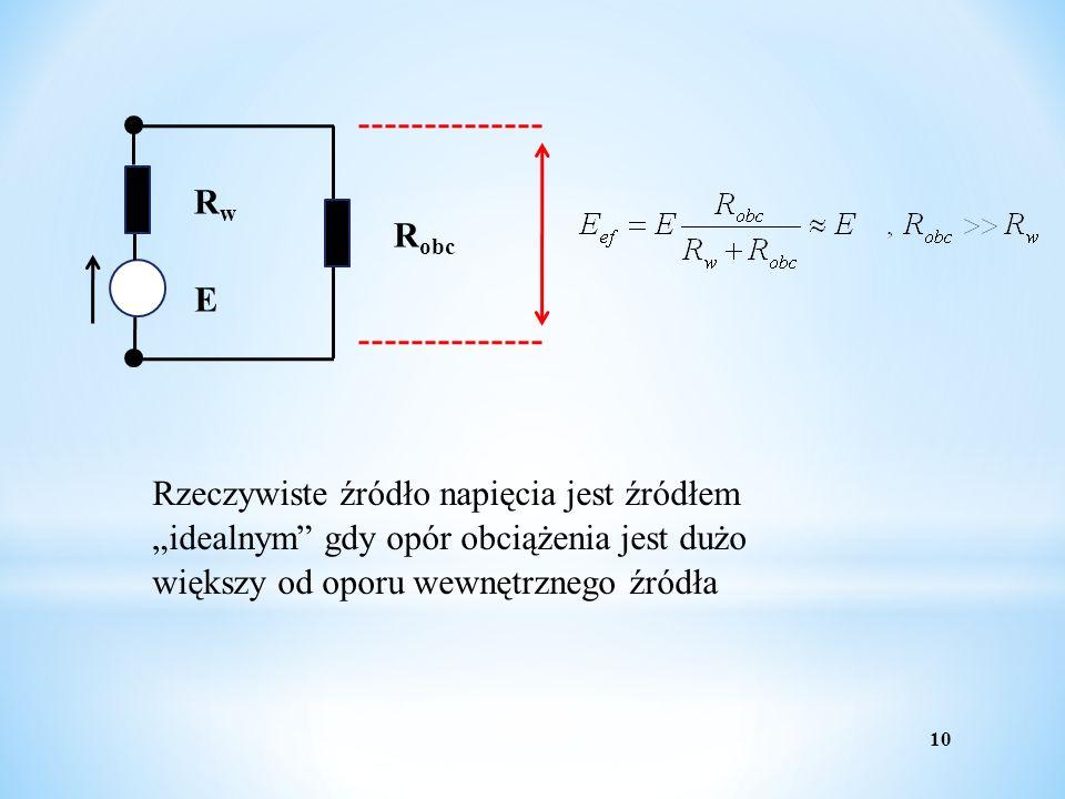 10 E RwRw R obc Rzeczywiste źródło napięcia jest źródłem idealnym gdy opór obciążenia jest dużo większy od oporu wewnętrznego źródła