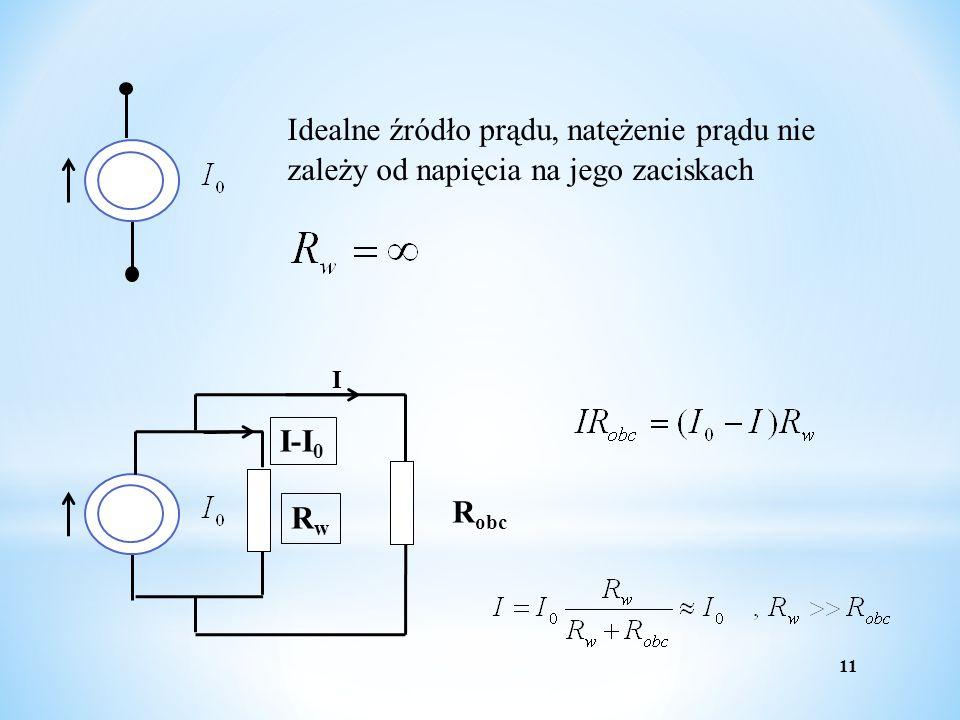11 Idealne źródło prądu, natężenie prądu nie zależy od napięcia na jego zaciskach R obc I RwRw I-I 0