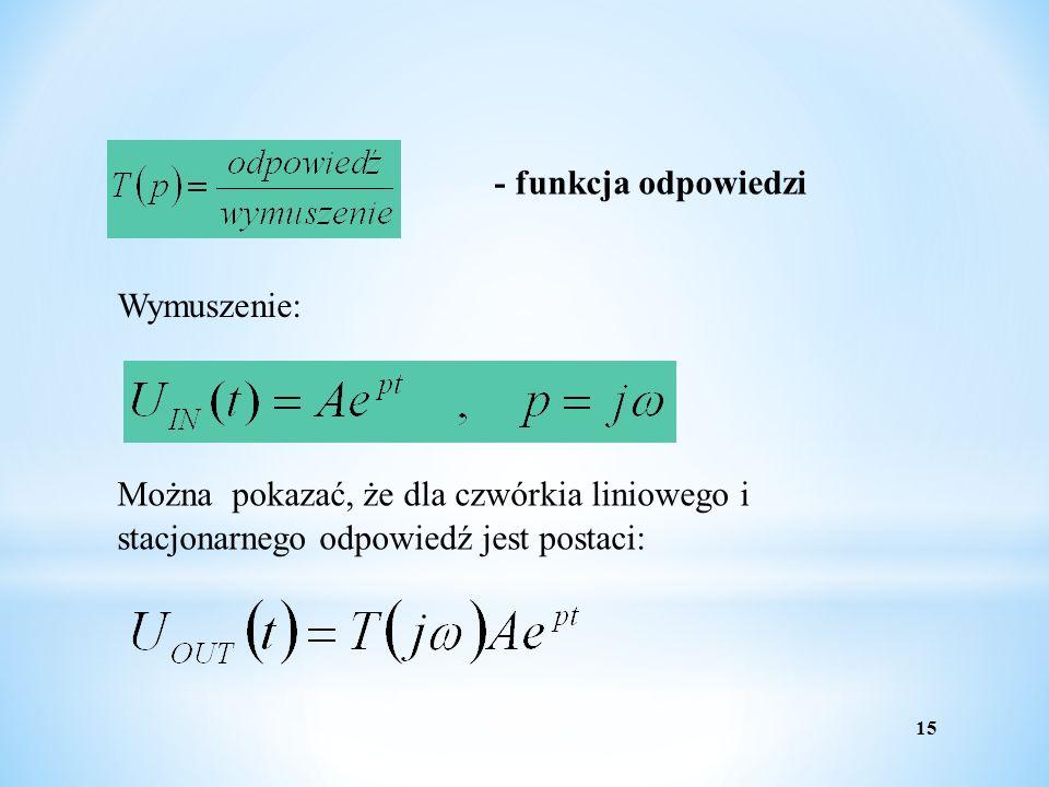 15 - funkcja odpowiedzi Wymuszenie: Można pokazać, że dla czwórkia liniowego i stacjonarnego odpowiedź jest postaci: