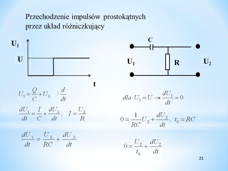 21 Przechodzenie impulsów prostokątnych przez układ różniczkujący U1U1 t U R U1U1 U2U2 C