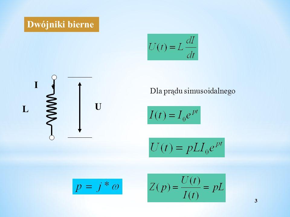 Dwójniki bierne L U I Dla prądu simusoidalnego 3