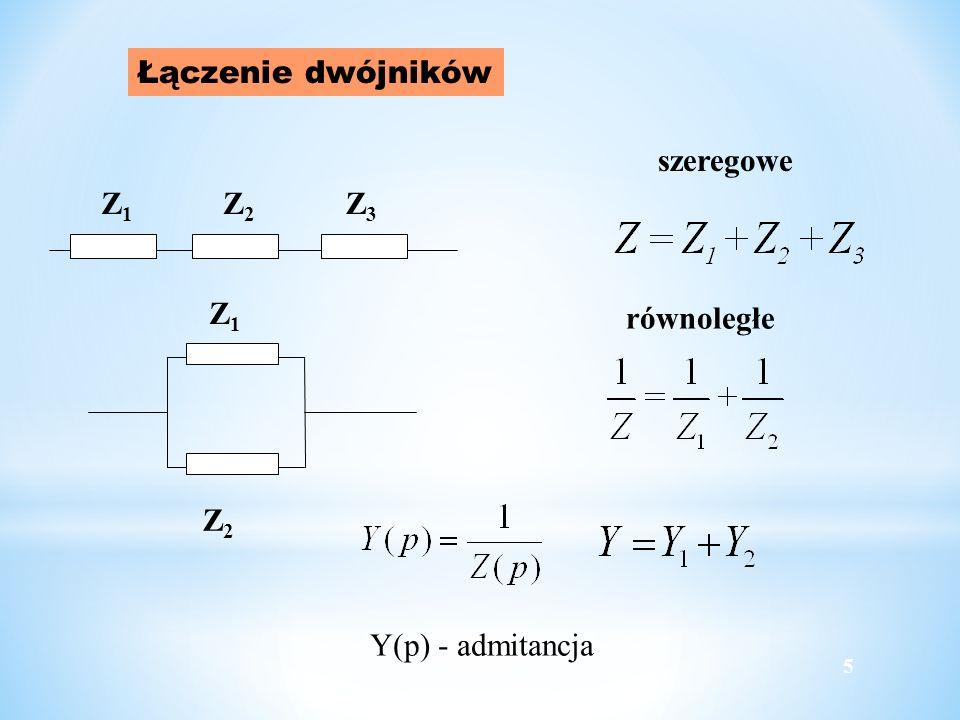 Łączenie dwójników Z1Z1 Z2Z2 Z3Z3 Z1Z1 Z2Z2 szeregowe równoległe 5 Y(p) - admitancja