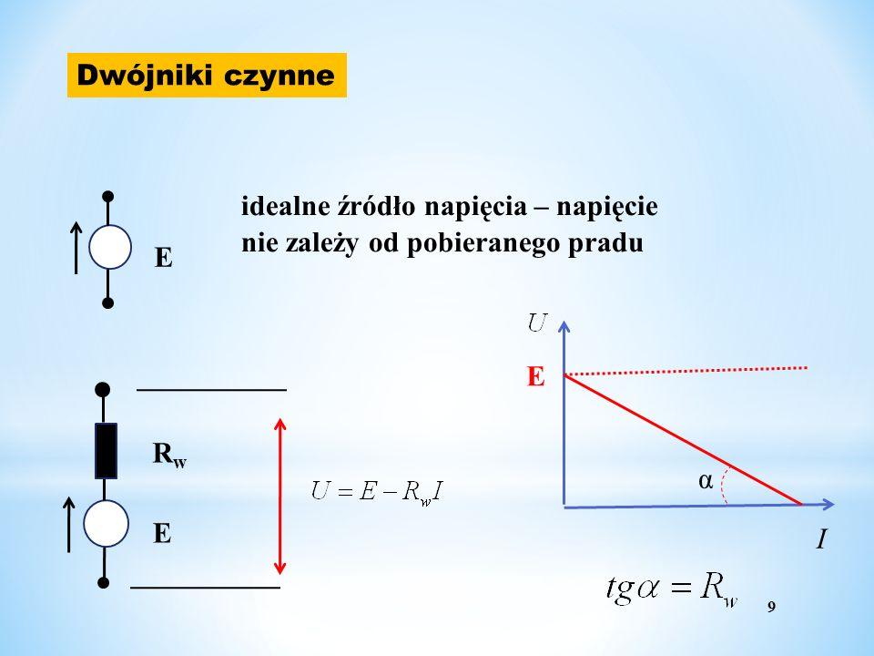 Dwójniki czynne E idealne źródło napięcia – napięcie nie zależy od pobieranego pradu E RwRw 9 E α I