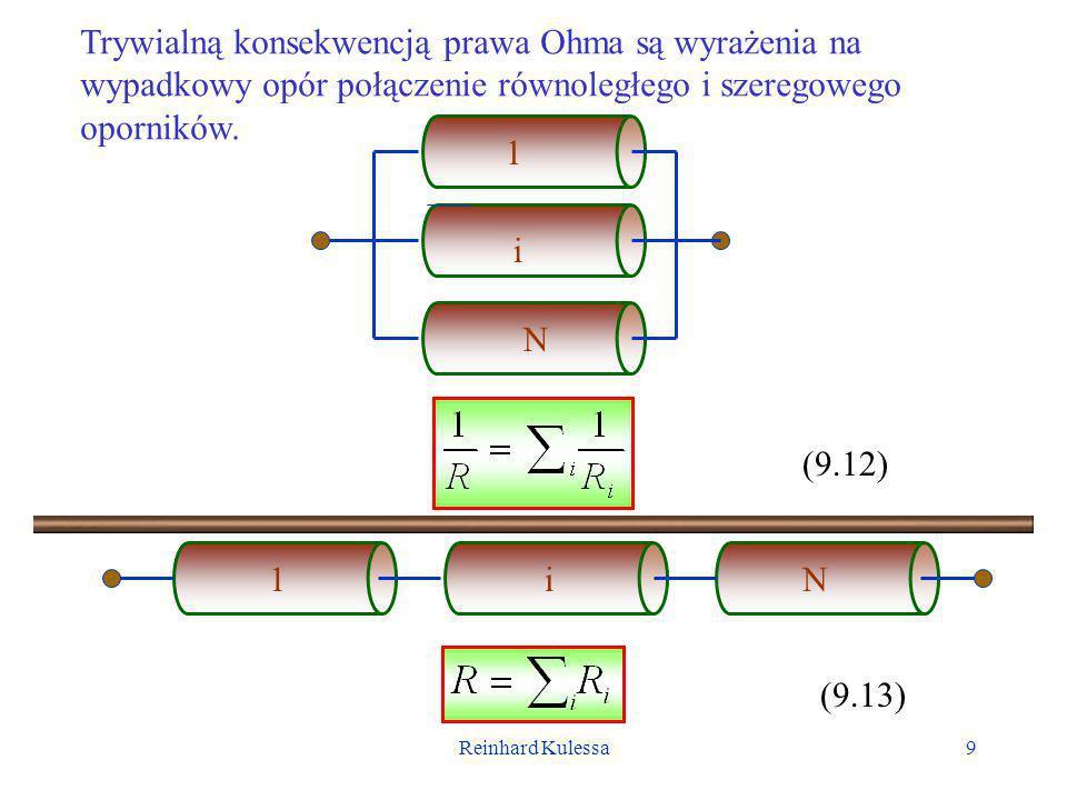 Reinhard Kulessa10 Jak już wspomniano, najprostszy obwód składa się z baterii na zaciskach której panuje napięcie V Є, oraz z jednego lub wielu oporów./ + - VЄVЄ V1V1 V2V2 I W układzie tym płynie prąd o natężeniu I = V Є /R, gdzie R jest całkowitym oporem.